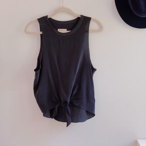 Chaser Silk Muscle tie front Tank sz S